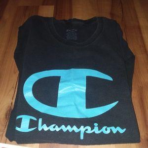 Men's Champion blue on black tshirt